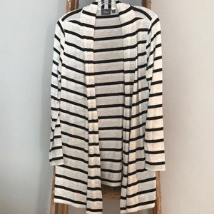 Black, gray, white and beige striped cardigan
